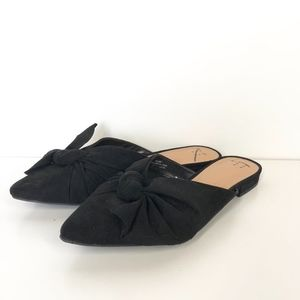 A New Day Black Flat Mule Bow Front Size 11